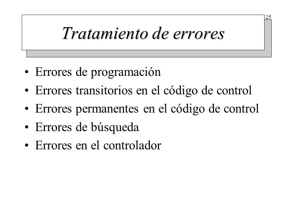 25 Tratamiento de errores Errores de programación Errores transitorios en el código de control Errores permanentes en el código de control Errores de