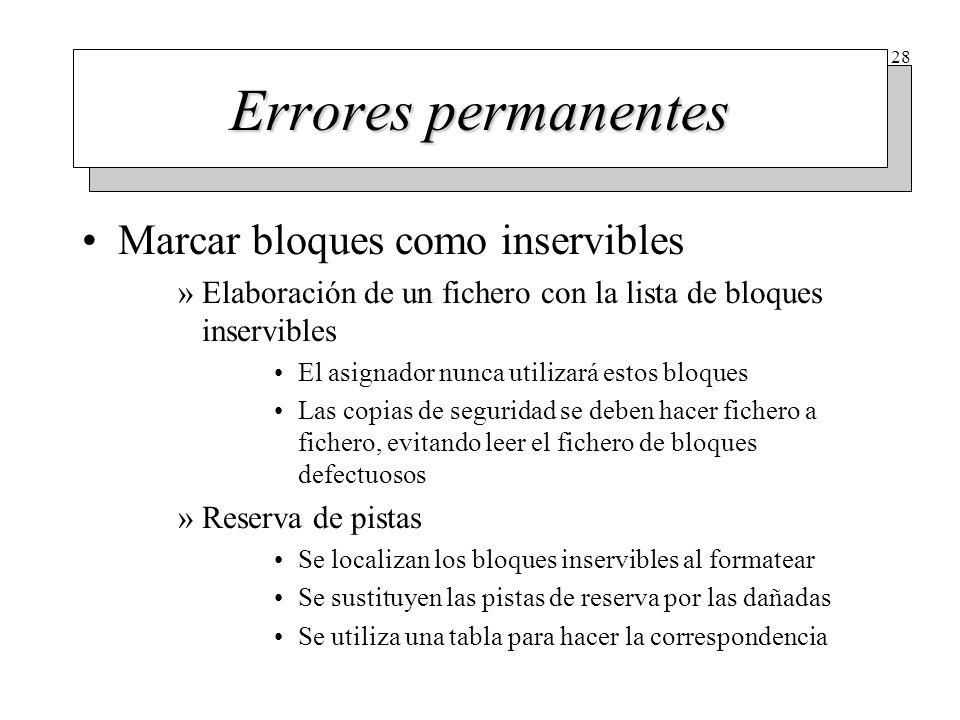 28 Errores permanentes Marcar bloques como inservibles »Elaboración de un fichero con la lista de bloques inservibles El asignador nunca utilizará est