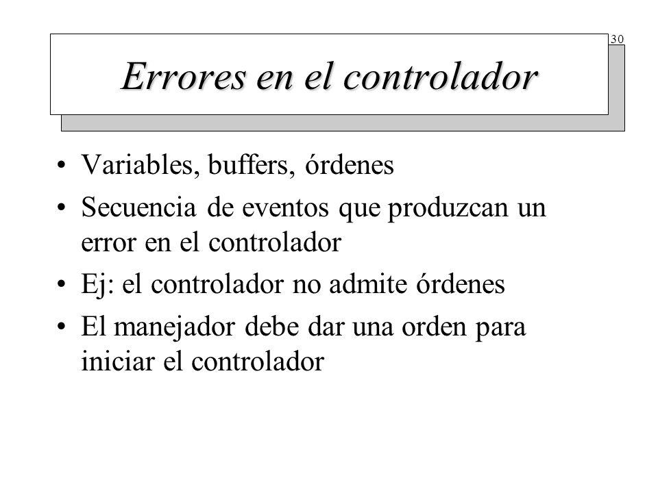 30 Errores en el controlador Variables, buffers, órdenes Secuencia de eventos que produzcan un error en el controlador Ej: el controlador no admite ór