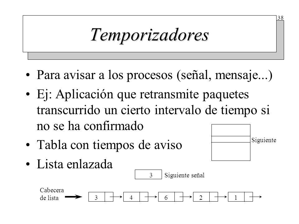 38 Temporizadores Para avisar a los procesos (señal, mensaje...) Ej: Aplicación que retransmite paquetes transcurrido un cierto intervalo de tiempo si