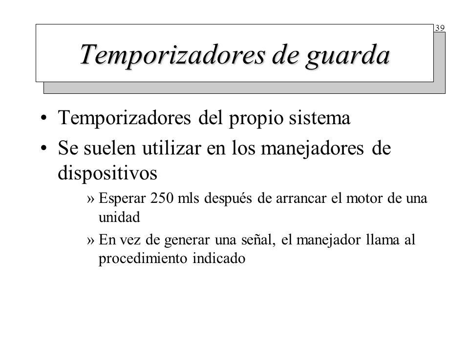 39 Temporizadores de guarda Temporizadores del propio sistema Se suelen utilizar en los manejadores de dispositivos »Esperar 250 mls después de arranc