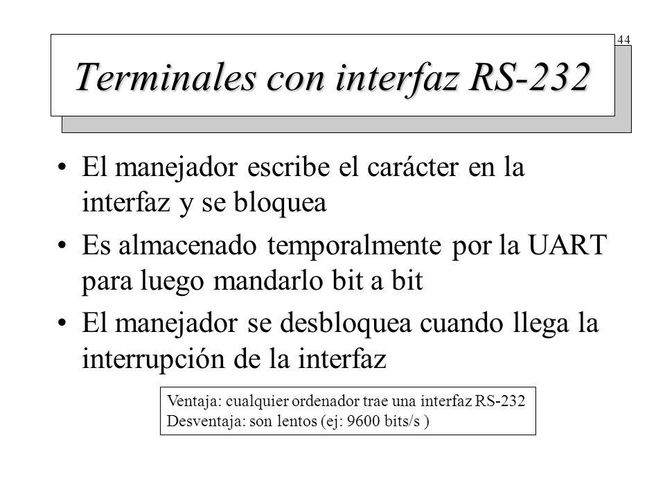 44 Terminales con interfaz RS-232 El manejador escribe el carácter en la interfaz y se bloquea Es almacenado temporalmente por la UART para luego mand