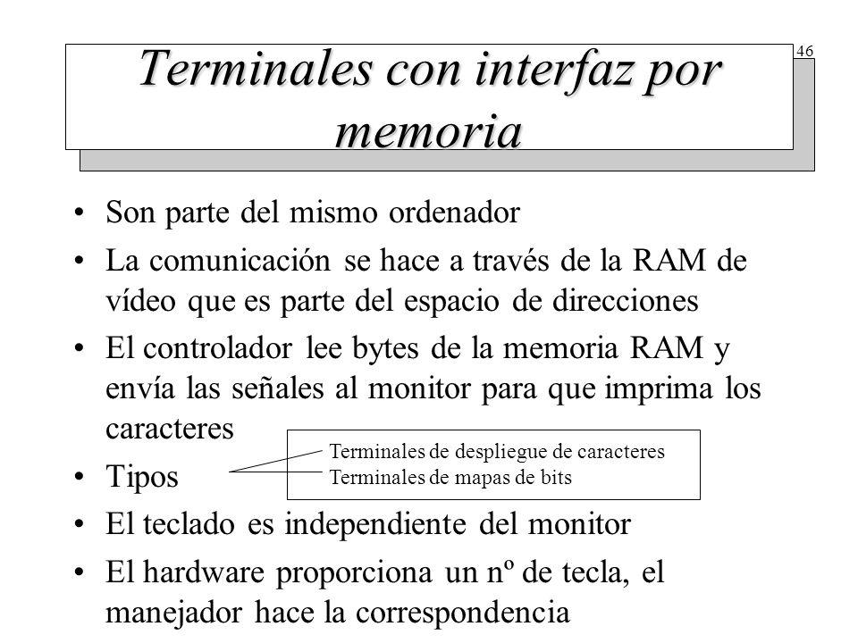 46 Terminales con interfaz por memoria Son parte del mismo ordenador La comunicación se hace a través de la RAM de vídeo que es parte del espacio de d