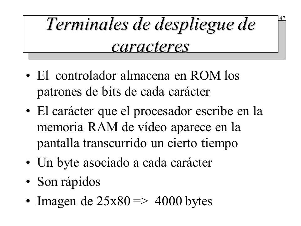 47 Terminales de despliegue de caracteres El controlador almacena en ROM los patrones de bits de cada carácter El carácter que el procesador escribe e
