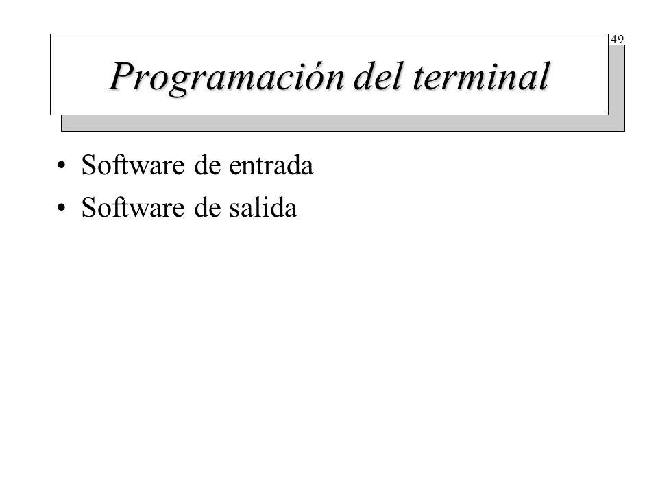 49 Programación del terminal Software de entrada Software de salida