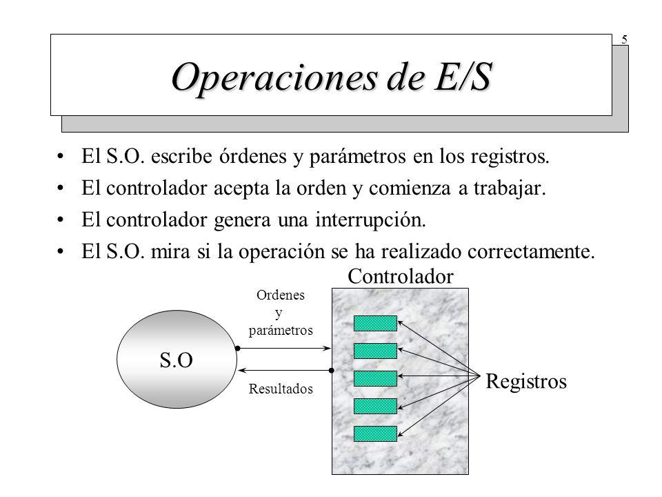 5 Operaciones de E/S El S.O. escribe órdenes y parámetros en los registros. El controlador acepta la orden y comienza a trabajar. El controlador gener
