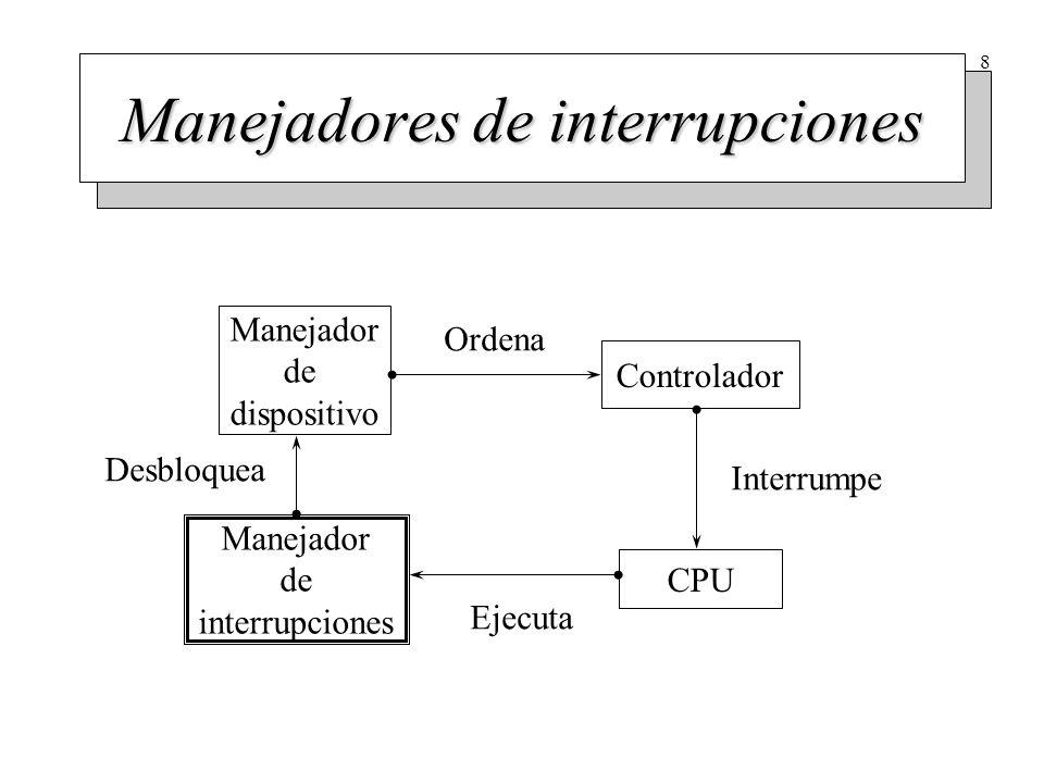 8 Manejador de dispositivo Controlador CPU Manejador de interrupciones Ordena Interrumpe Ejecuta Desbloquea