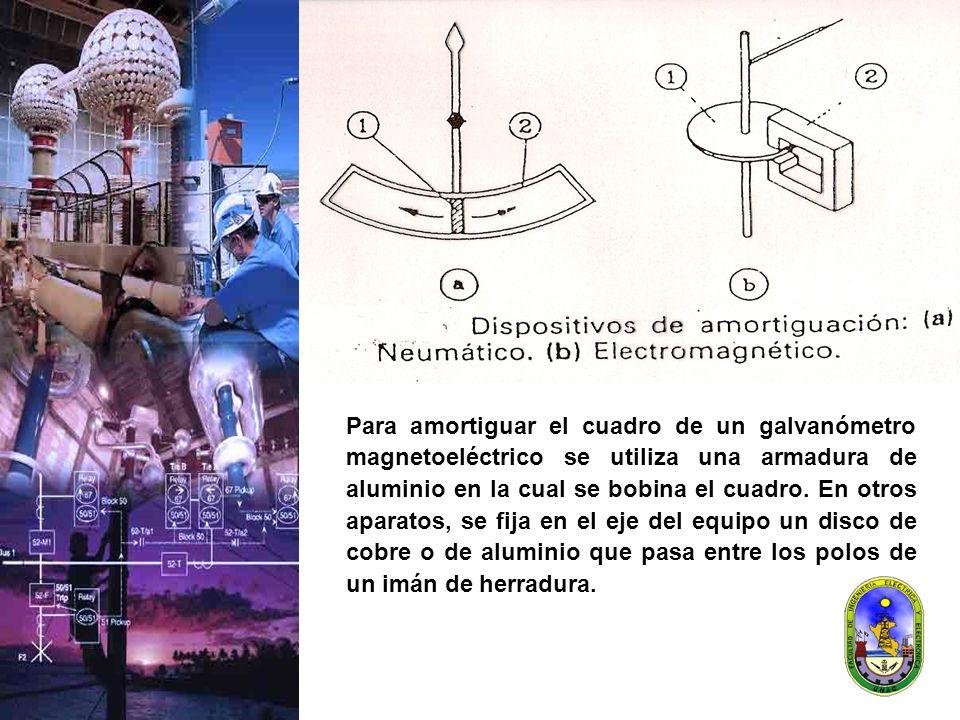 Para amortiguar el cuadro de un galvanómetro magnetoeléctrico se utiliza una armadura de aluminio en la cual se bobina el cuadro. En otros aparatos, s