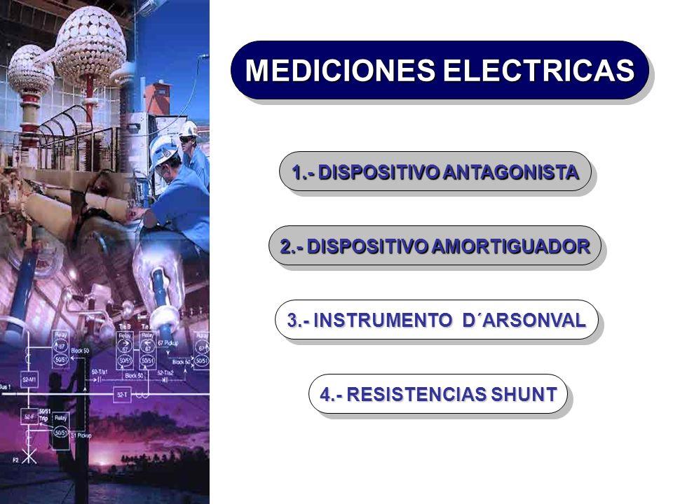 4.- RESISTENCIAS SHUNT 3.- INSTRUMENTO D´ARSONVAL 2.- DISPOSITIVO AMORTIGUADOR 1.- DISPOSITIVO ANTAGONISTA MEDICIONES ELECTRICAS