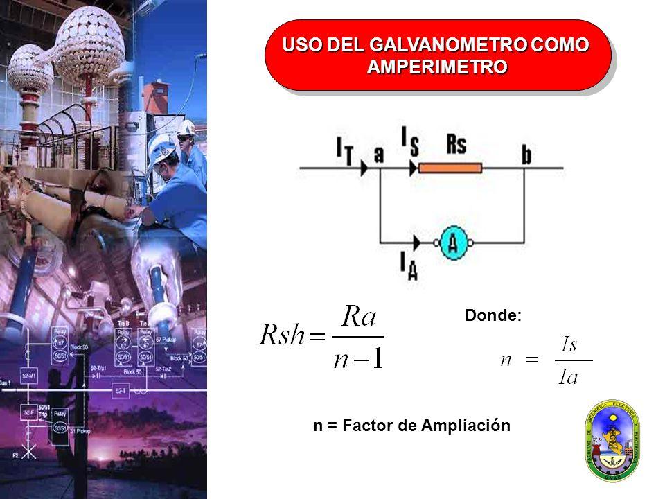 USO DEL GALVANOMETRO COMO AMPERIMETRO AMPERIMETRO Donde: n = Factor de Ampliación