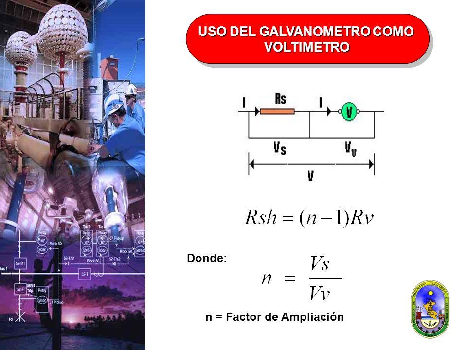 n = Factor de Ampliación Donde: USO DEL GALVANOMETRO COMO VOLTIMETRO VOLTIMETRO