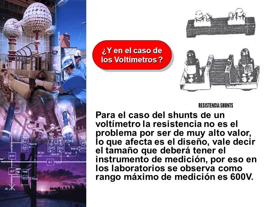 Para el caso del shunts de un voltímetro la resistencia no es el problema por ser de muy alto valor, lo que afecta es el diseño, vale decir el tamaño