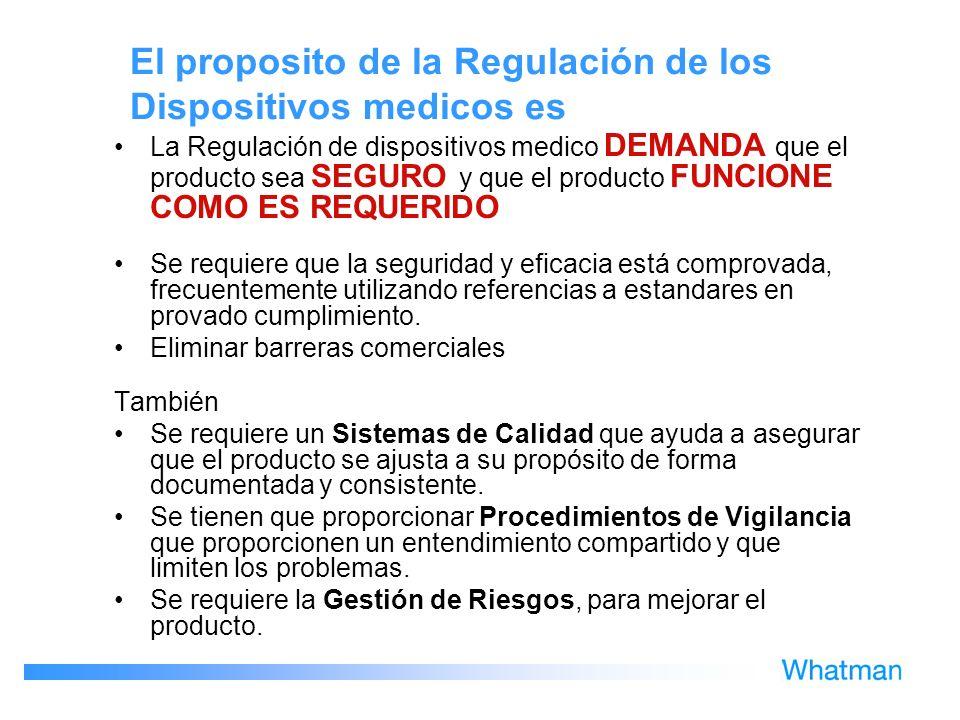 El proposito de la Regulación de los Dispositivos medicos es La Regulación de dispositivos medico DEMANDA que el producto sea SEGURO y que el producto