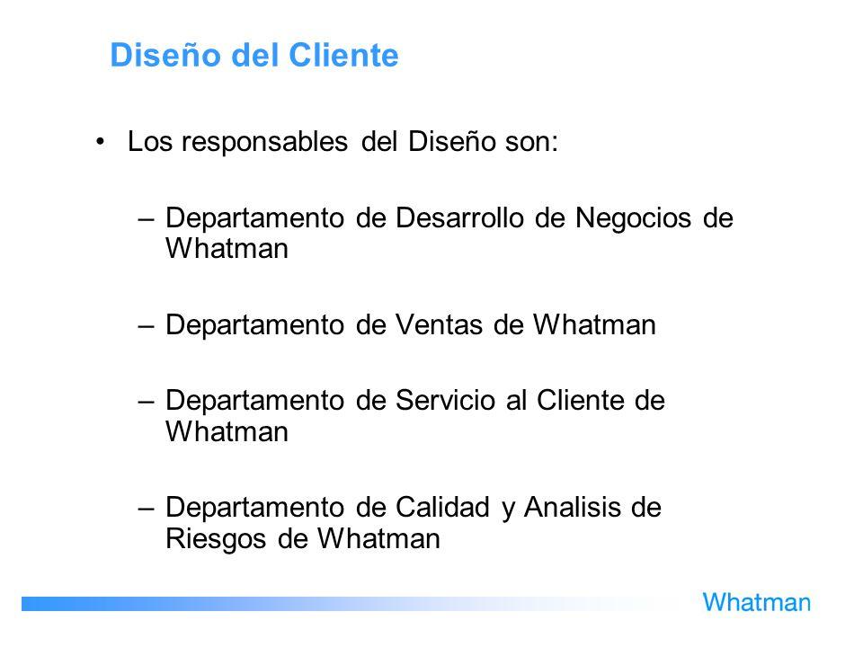 Diseño del Cliente Los responsables del Diseño son: –Departamento de Desarrollo de Negocios de Whatman –Departamento de Ventas de Whatman –Departament