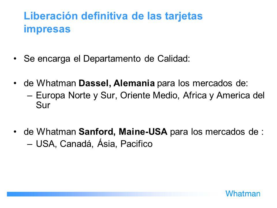 Liberación definitiva de las tarjetas impresas Se encarga el Departamento de Calidad: de Whatman Dassel, Alemania para los mercados de: –Europa Norte