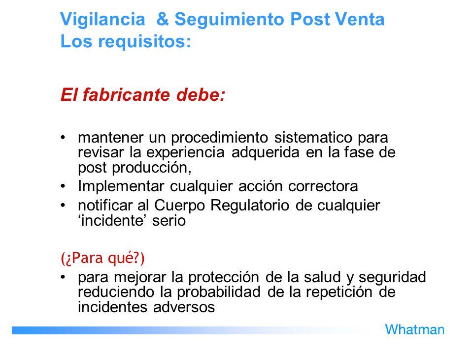 Vigilancia & Seguimiento Post Venta Los requisitos: El fabricante debe: mantener un procedimiento sistematico para revisar la experiencia adquerida en