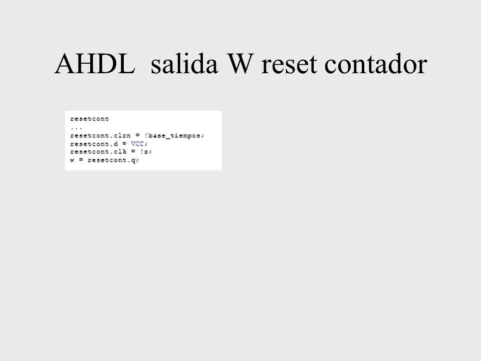 AHDL salida W reset contador