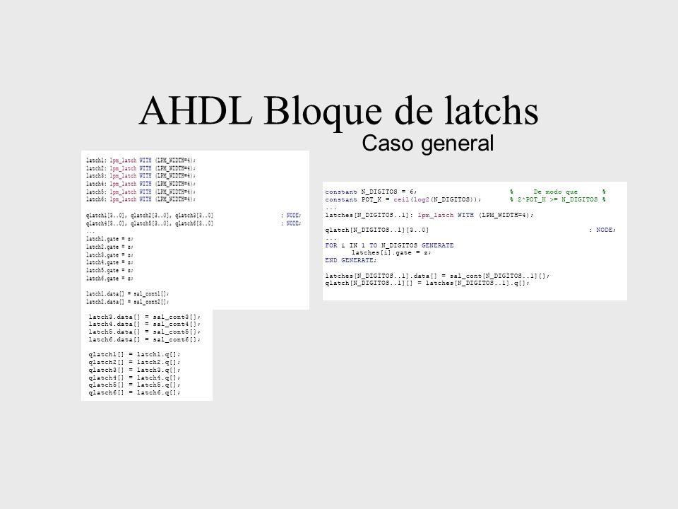 AHDL Bloque de latchs Caso general