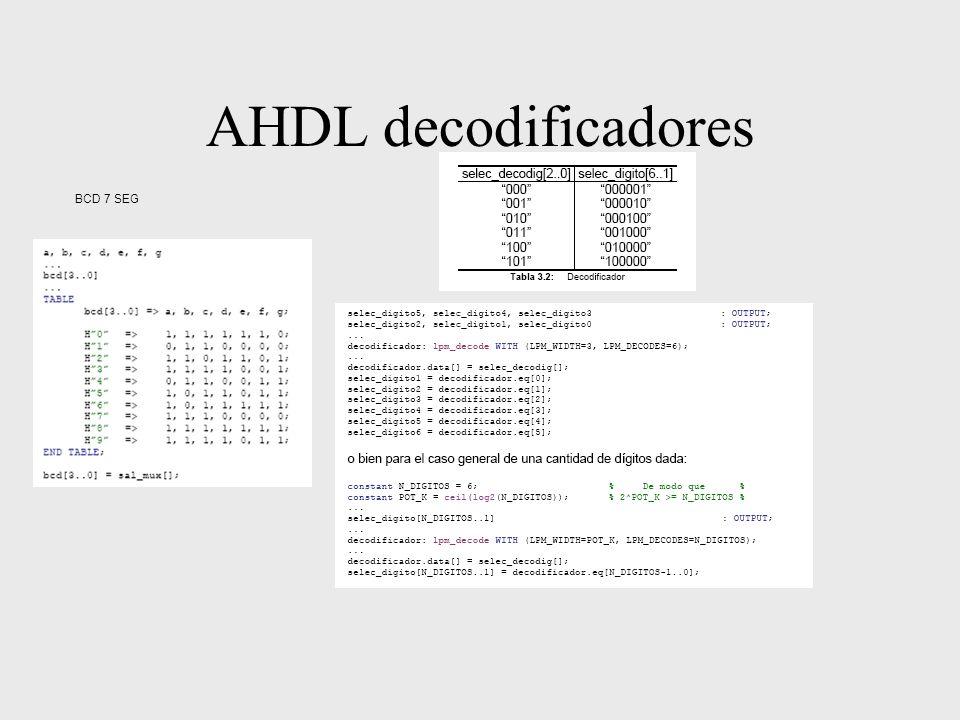 AHDL decodificadores BCD 7 SEG