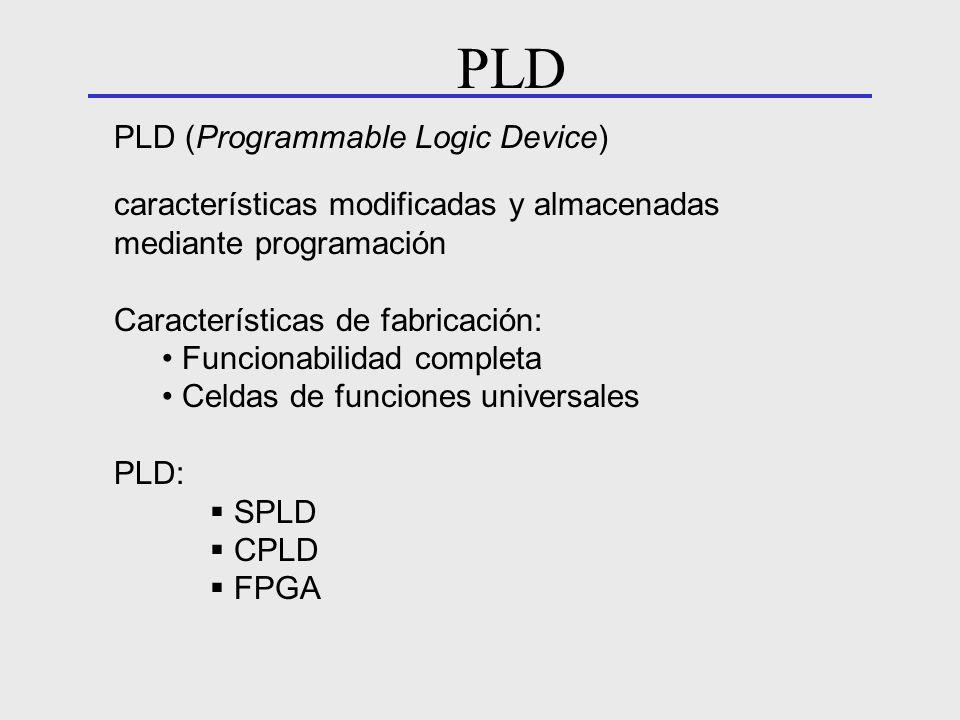 PLD (Programmable Logic Device) características modificadas y almacenadas mediante programación Características de fabricación: Funcionabilidad comple