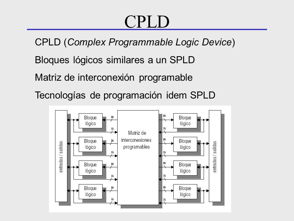 CPLD (Complex Programmable Logic Device) Bloques lógicos similares a un SPLD Matriz de interconexión programable Tecnologías de programación idem SPLD