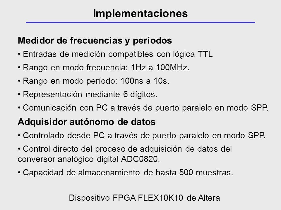 Medidor de frecuencias y períodos Entradas de medición compatibles con lógica TTL Rango en modo frecuencia: 1Hz a 100MHz. Rango en modo período: 100ns