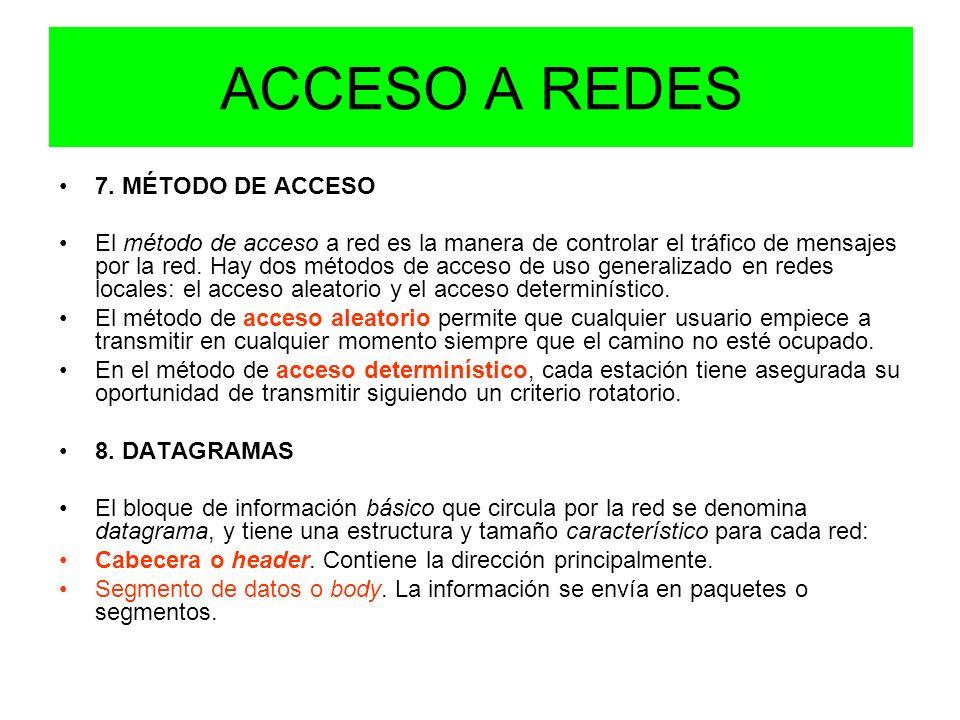 ACCESO A REDES 7. MÉTODO DE ACCESO El método de acceso a red es la manera de controlar el tráfico de mensajes por la red. Hay dos métodos de acceso de