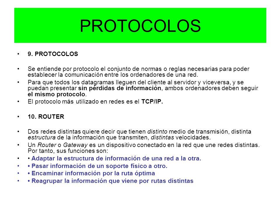 PROTOCOLOS 9. PROTOCOLOS Se entiende por protocolo el conjunto de normas o reglas necesarias para poder establecer la comunicación entre los ordenador