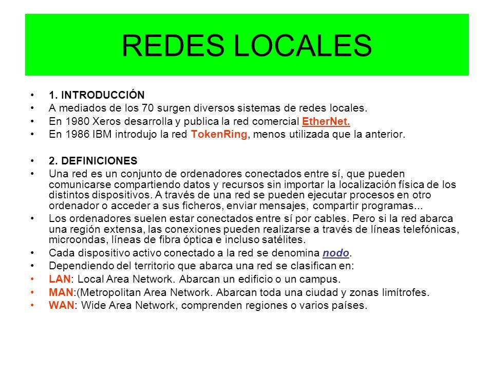 REDES LOCALES 1. INTRODUCCIÓN A mediados de los 70 surgen diversos sistemas de redes locales. En 1980 Xeros desarrolla y publica la red comercial Ethe