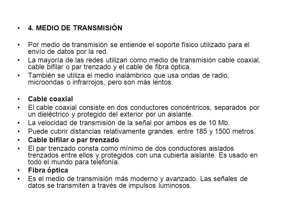 4. MEDIO DE TRANSMISIÓN Por medio de transmisión se entiende el soporte físico utilizado para el envío de datos por la red. La mayoría de las redes ut