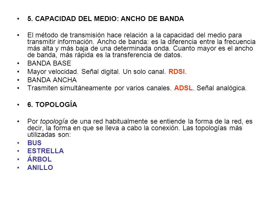 5. CAPACIDAD DEL MEDIO: ANCHO DE BANDA El método de transmisión hace relación a la capacidad del medio para transmitir información. Ancho de banda: es