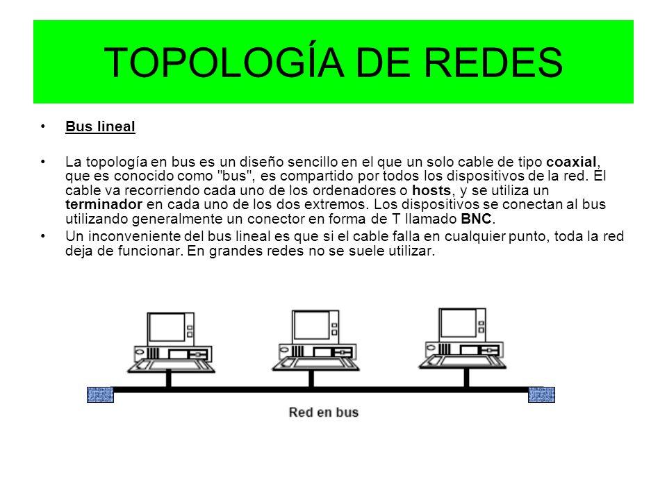 TOPOLOGÍA DE REDES Bus lineal La topología en bus es un diseño sencillo en el que un solo cable de tipo coaxial, que es conocido como