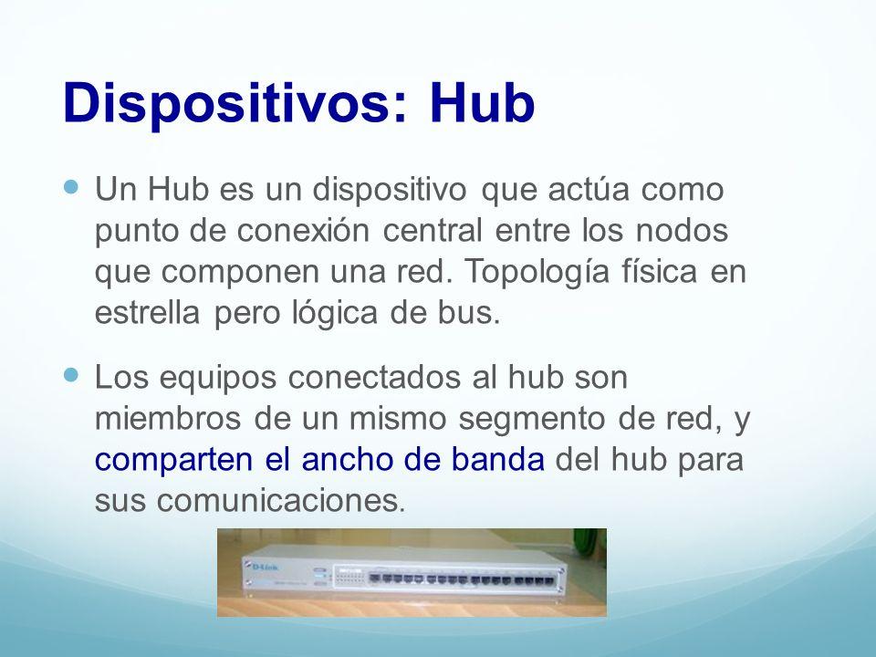 Un Hub es un dispositivo que actúa como punto de conexión central entre los nodos que componen una red. Topología física en estrella pero lógica de bu