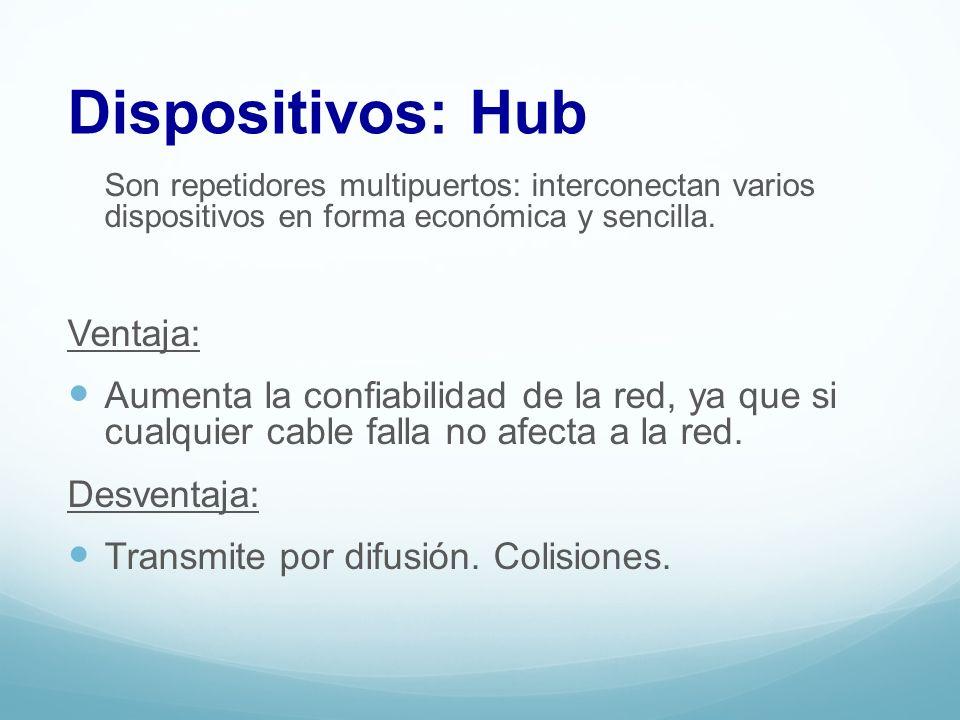 Los Hub pueden ser de dos tipos: Activos: realizan la regeneración de la señal que reciben antes de ser enviada.