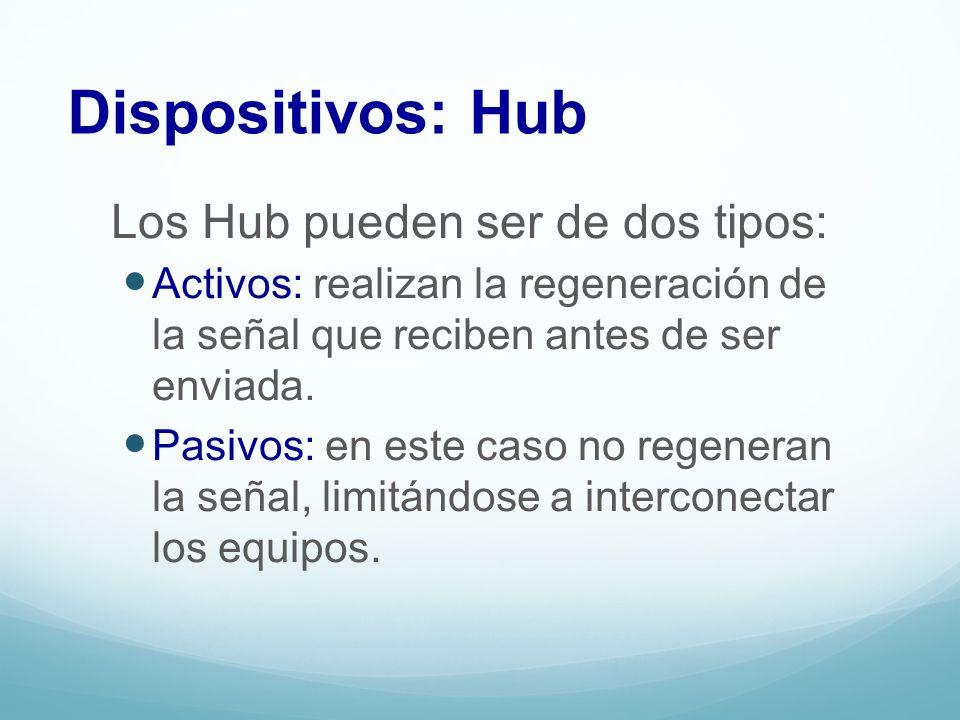 Los Hub pueden ser de dos tipos: Activos: realizan la regeneración de la señal que reciben antes de ser enviada. Pasivos: en este caso no regeneran la