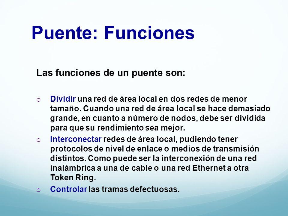 Puente: Funciones Las funciones de un puente son: Dividir una red de área local en dos redes de menor tamaño. Cuando una red de área local se hace dem