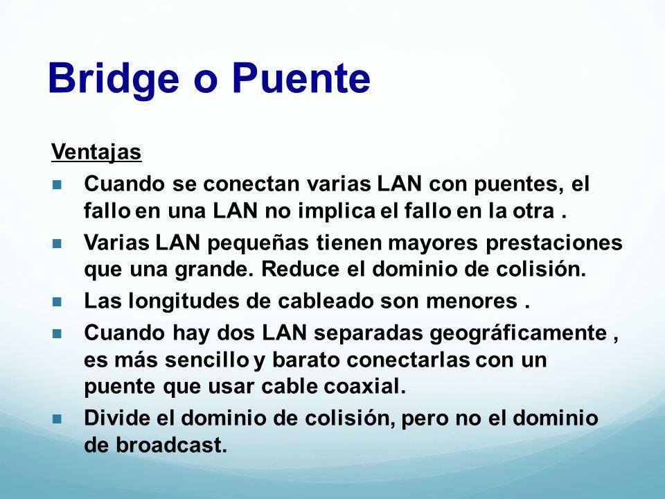 Bridge o Puente Ventajas Cuando se conectan varias LAN con puentes, el fallo en una LAN no implica el fallo en la otra. Varias LAN pequeñas tienen may