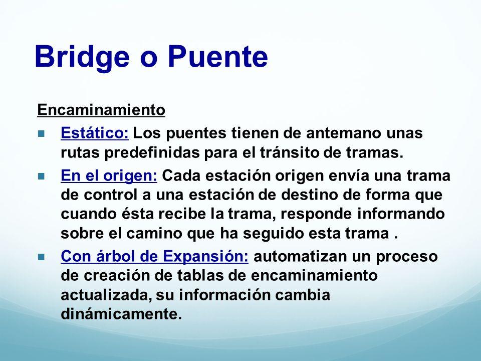 Bridge o Puente Encaminamiento Estático: Los puentes tienen de antemano unas rutas predefinidas para el tránsito de tramas. En el origen: Cada estació