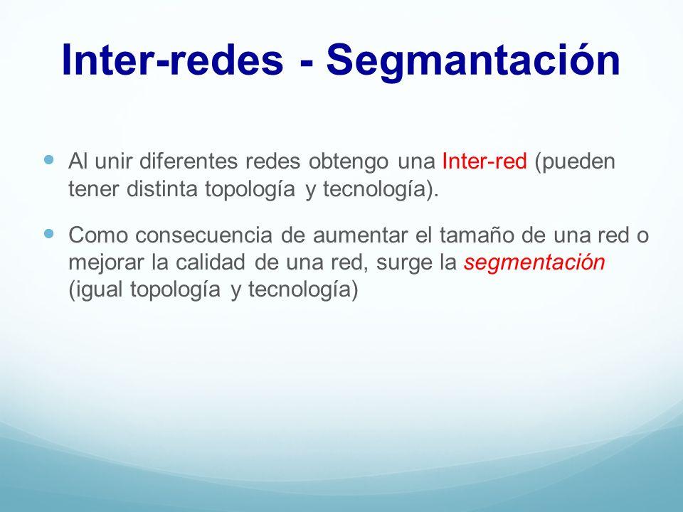 Inter-redes - Segmantación Al unir diferentes redes obtengo una Inter-red (pueden tener distinta topología y tecnología). Como consecuencia de aumenta
