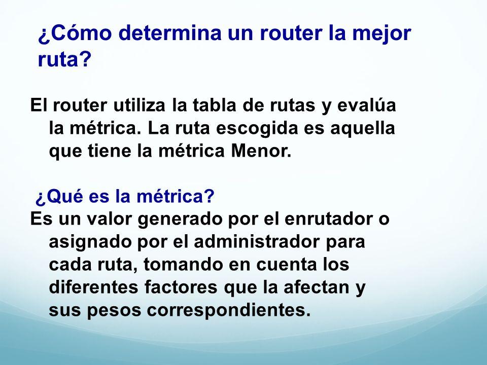 ¿Cómo determina un router la mejor ruta? El router utiliza la tabla de rutas y evalúa la métrica. La ruta escogida es aquella que tiene la métrica Men