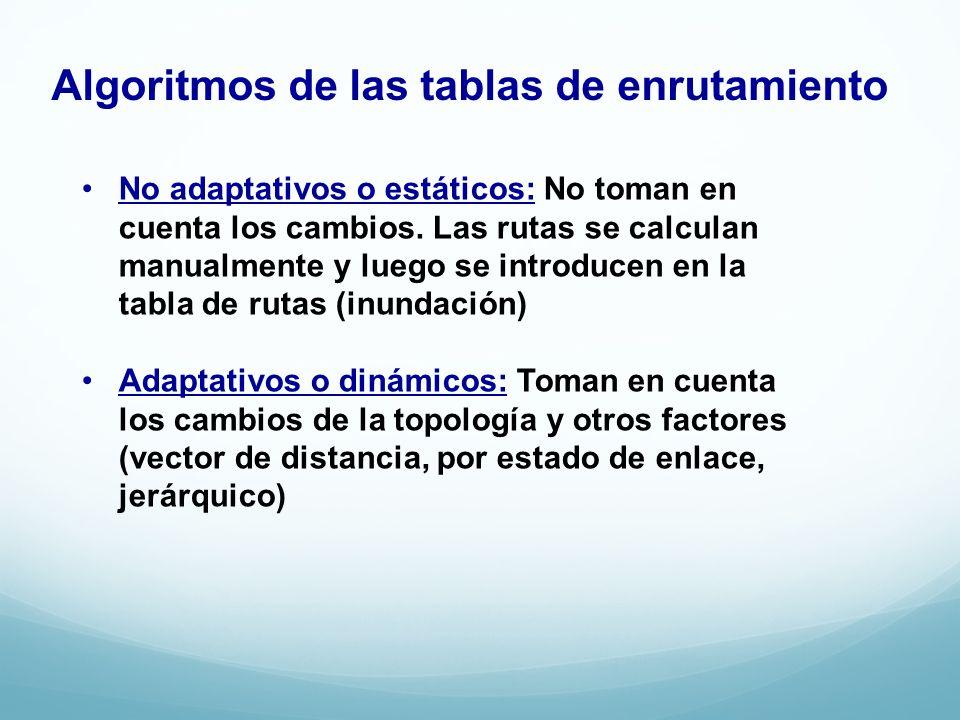 Algoritmos de las tablas de enrutamiento No adaptativos o estáticos: No toman en cuenta los cambios. Las rutas se calculan manualmente y luego se intr