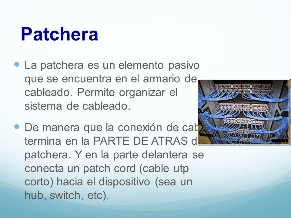 Patchera La patchera es un elemento pasivo que se encuentra en el armario de cableado. Permite organizar el sistema de cableado. De manera que la cone
