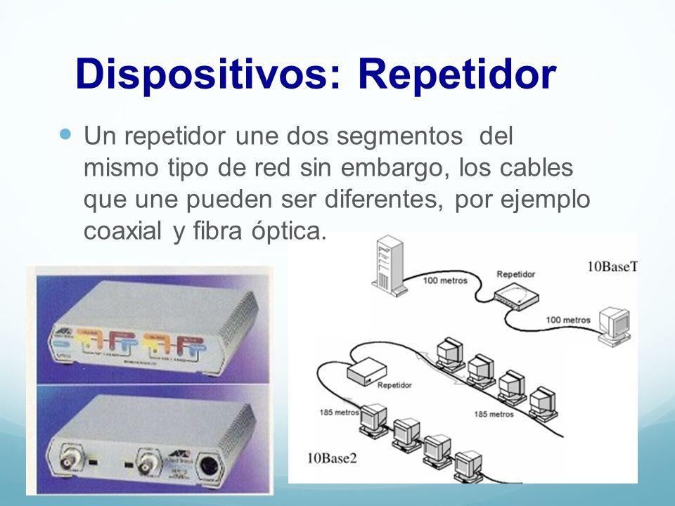 Dispositivos: Repetidor Un repetidor une dos segmentos del mismo tipo de red sin embargo, los cables que une pueden ser diferentes, por ejemplo coaxia