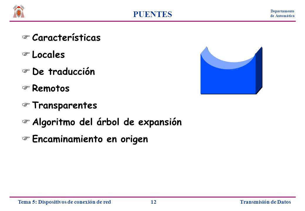Transmisión de Datos12Tema 5: Dispositivos de conexión de red Departamento de Automática PUENTES Características Locales De traducción Remotos Transpa
