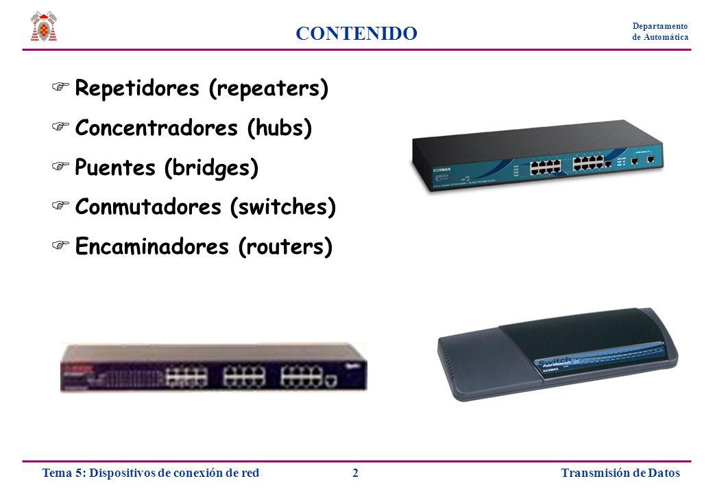 Transmisión de Datos23Tema 5: Dispositivos de conexión de red Departamento de Automática CONMUTADORES Funcionamiento Conmutación de barras cruzadas (conmutación en matriz) Rejilla de conexiones entrada-salida Totalmente basado en hardware Utilización de búferes si la salida está ocupada Conmutación de memoria compartida Se almacenan en memoria los datos de entrada Conmutación con arquitectura de bus Se reenvía todo el tráfico a través de un bus común Multiplexación por división en el tiempo para garantizar acceso por igual al bus Cada puerto posee un búfer individual