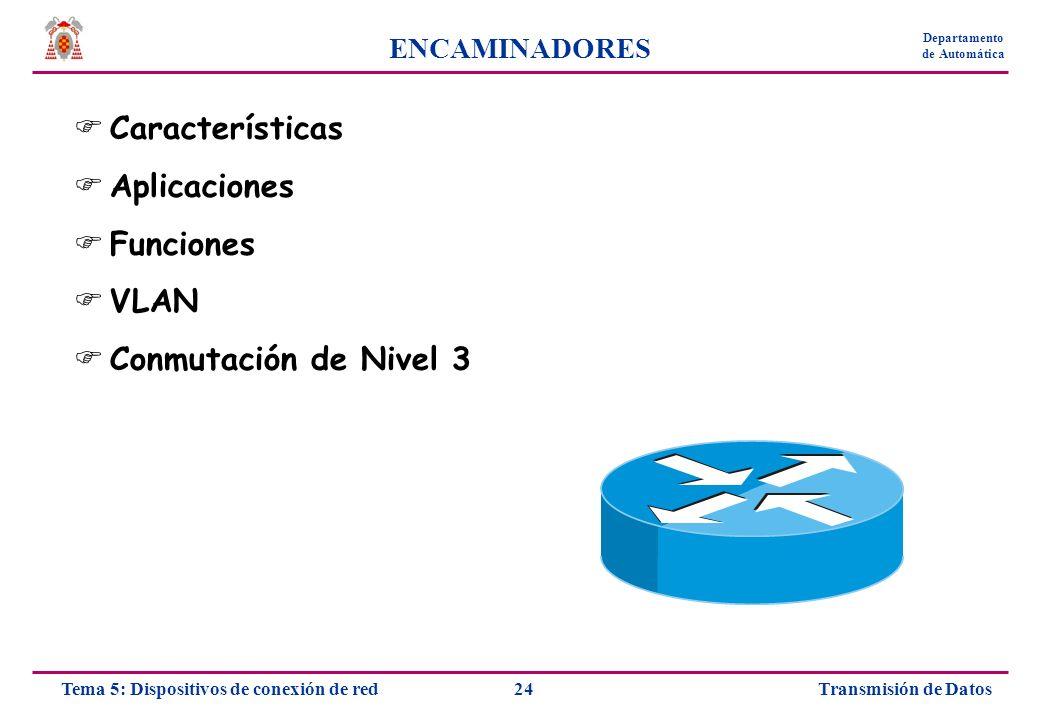 Transmisión de Datos24Tema 5: Dispositivos de conexión de red Departamento de Automática ENCAMINADORES Características Aplicaciones Funciones VLAN Con