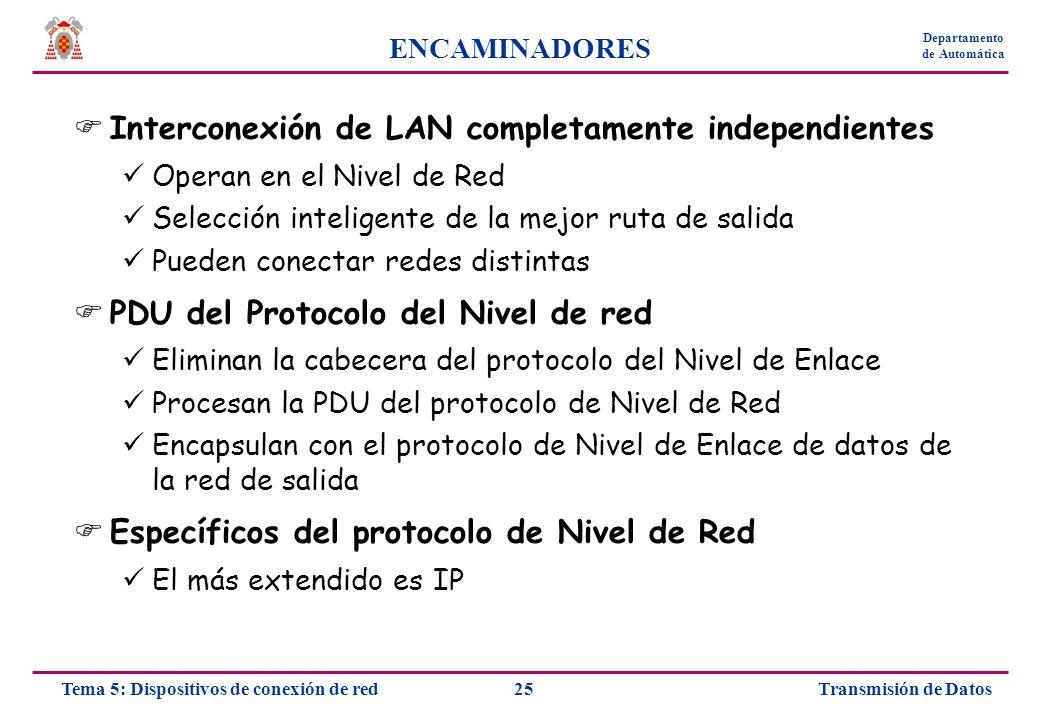 Transmisión de Datos25Tema 5: Dispositivos de conexión de red Departamento de Automática ENCAMINADORES Interconexión de LAN completamente independient