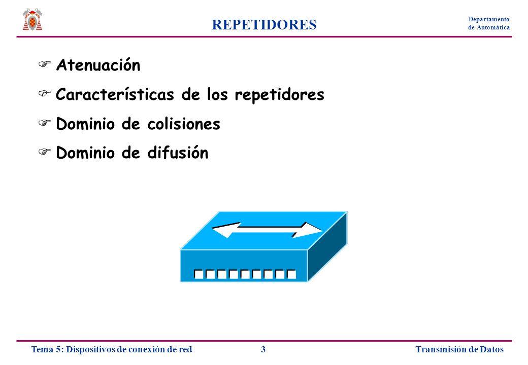Transmisión de Datos4Tema 5: Dispositivos de conexión de red Departamento de Automática REPETIDORES La señal se atenúa gradualmente con la distancia Los protocolos del nivel físico y de enlace especifican la longitud máxima y mínima del cable La atenuación es uno de los factores principales que limitan la longitud máxima Repetidores: extienden la longitud máxima del cable Amplifican la señal No suelen encontrarse aislados Labor puramente eléctrica Trabajan en el nivel físico de la red No filtran los datos que viajan por la red