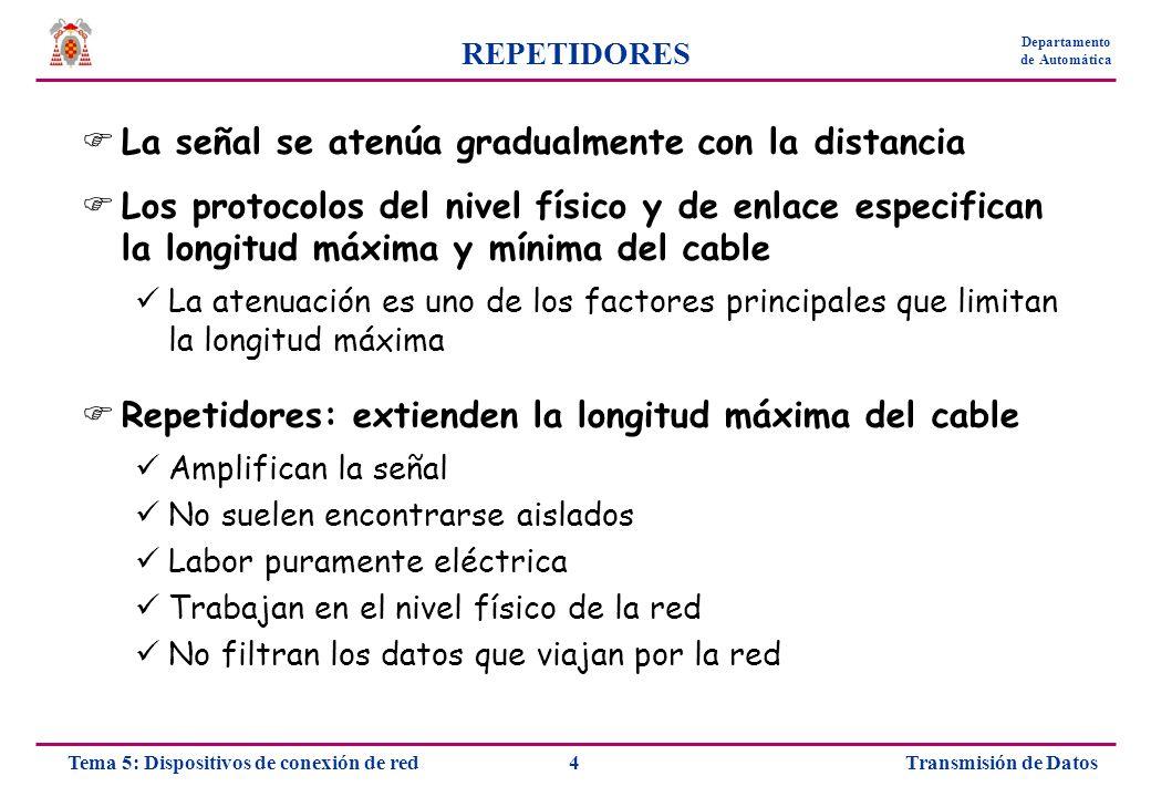 Transmisión de Datos15Tema 5: Dispositivos de conexión de red Departamento de Automática PUENTES Transparentes: tabla interna puertos - direcciones RedNodo A1 C5 B3 A2 B4 C6 RED A RED B RED C Nodo 1 Nodo 2 Nodo 3 Nodo 4 Nodo 5 Nodo 6
