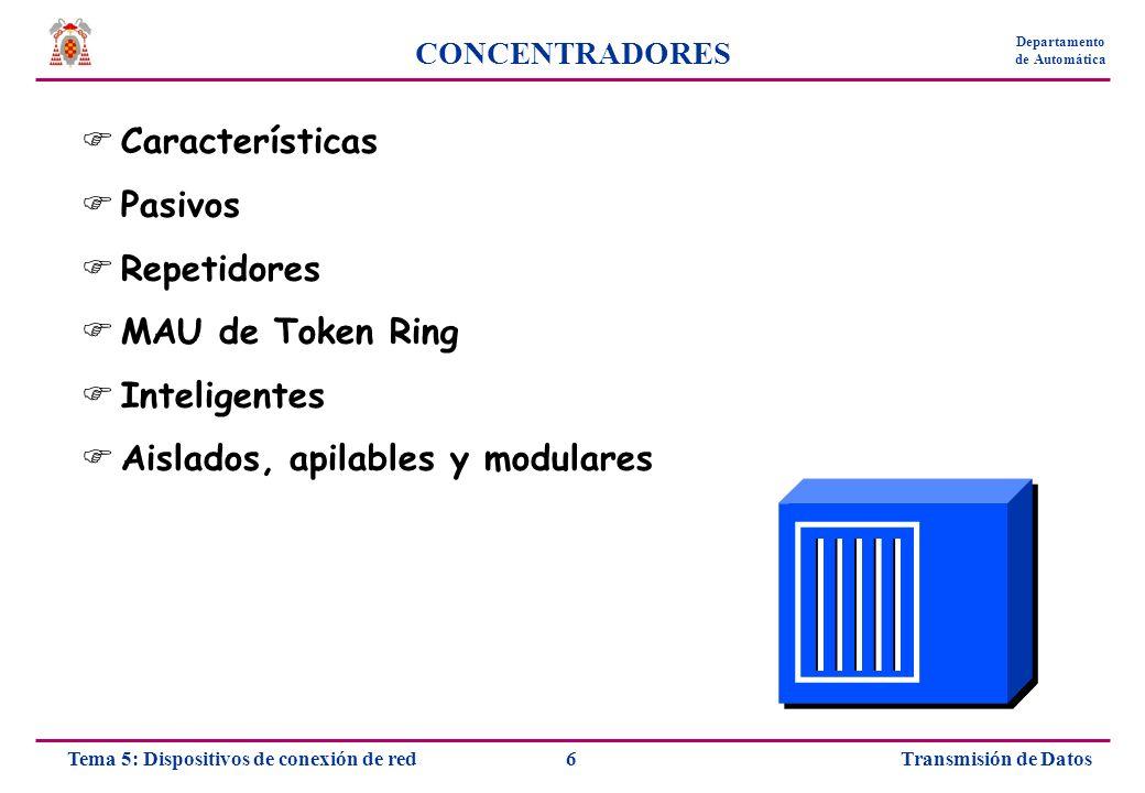 Transmisión de Datos7Tema 5: Dispositivos de conexión de red Departamento de Automática CONCENTRADORES Centro de cableado para una red en estrella Conecta un conjunto de equipos en un mismo dominio de colisiones El tráfico que llega a cualquiera de los puertos se propaga a todos los demás Puertos y hardware diferente en función del medio de red Puede disponer de LEDs para indicar existencia de dispositivo, tráfico o colisiones En Token Ring se denomina Unidad de acceso multiestación (MAU)